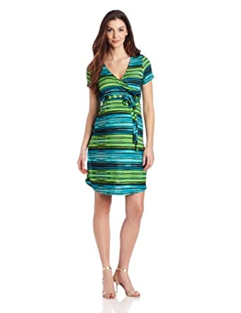 Three Seasons Maternity Women's Surplice Stripe Dress, Green/Turquoise/Black, Small