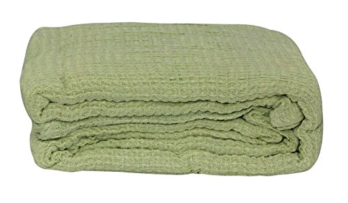 Lcm Home Fashions Cotton Thermal Blanket, King, Sage front-1042386