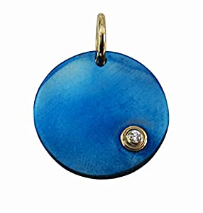Blue Titanium Disk Pendant with Diamand Accent