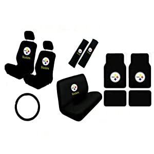 15 piece nfl auto interior gift set pittsburgh steelers a set of 2 seat covers. Black Bedroom Furniture Sets. Home Design Ideas
