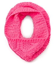 Neon Knitted Snood Scarf with Wool