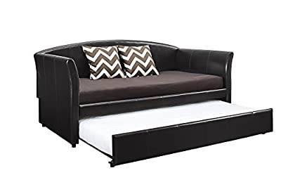 DHP 4019257 Halle Upholstered Daybed and Trundle, Twin, Brown