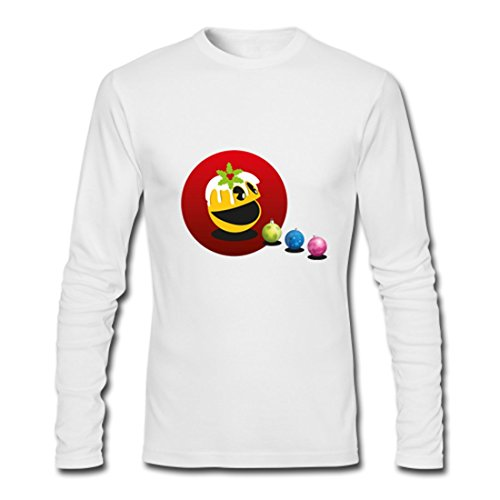 LARger pac-man Custom Gildan Mens Long sleeve T-shirt White M