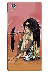 Omnam Girl With Bird Sitting Printed Designer Back Cover Case For Vivo Y51 L
