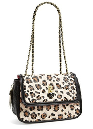 Betsey Johnson Be My Everything Quilted Heart Satchel Handbag Leopard