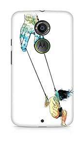 Amez designer printed 3d premium high quality back case cover for Motorola Moto X (2nd Generation) (Hand swing people wind rock surrealism)