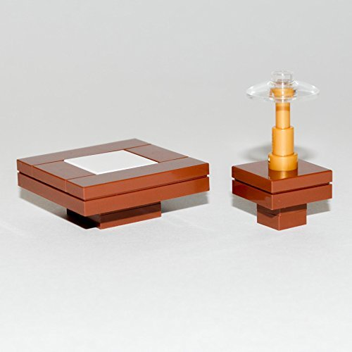 LEGO Furniture: Brown Seating Tables with Coffee Table, Side Table & Lamp