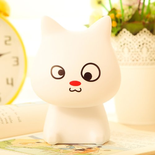 Creative Rechargeable Led Mini Desk Lamp Cute Cat Bedsides Table Lamp Simple Reading Table Lamp (White)