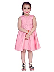 KASHANA Kids Polyester Frilled Light Pink Sleevless Girls Baby Kids Casual Dresses & Frocks