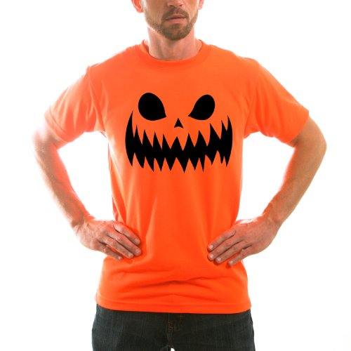 [Scary Pumpkin Face Adult Halloween Costume Unisex Short Sleeve TShirt Large] (Mens Halloween Costume Ideas Last Minutes)