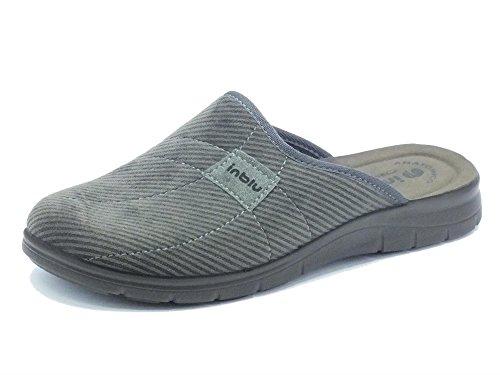 Pantofole InBlu per uomo in tessuto grigio fondo soft anatomico (Taglia 41)
