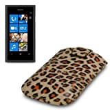 NOKIA LUMIA 800 LEOPARD SPOTS PREMIUM PU LEATHER CASE / COVER / POUCH PART OF THE QUBITS ACCESSORIES RANGEby Qubits