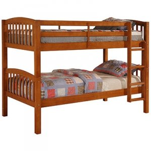 Linon Pine Ideal Durable Sturdy Children's Twin Bunkbed with Pecan Finish
