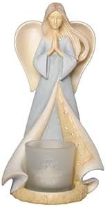 Enesco Foundations by Artist Karen Hahn Memorial Angel With Votive Holder Collective Figurine, 7.5-Inch