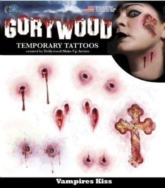 Gorywood CROSS and Vampire Bite Temporary Tattoo
