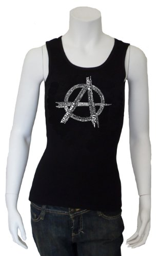 Women's Black Anarchy Beater Tank Top Large - Created using a list of some of the best and most popular Punk Songs of All Time
