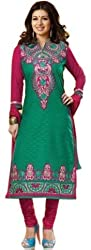 Limemode Women's Cotton Semi Stitched Dress Material (WASS000082_Green_Fre...