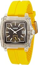 K&BROS Unisex 9405-3 Ice-Time Monaco Square Yellow Silicon Watch