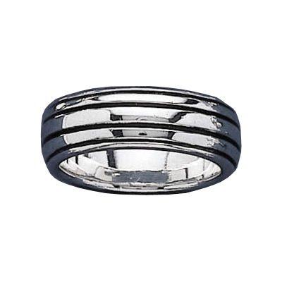 Mens Sterling Silver Black Stripes Band Ring