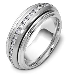 lowest platinum spinning wedding band ring with 37