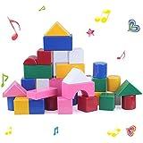 Happytime 42pcs 音いっぱいつみき オリジナル積み木 カラーブロック 幼児 赤ちゃん 子ども 知育 おもちゃ 音のでる積み木