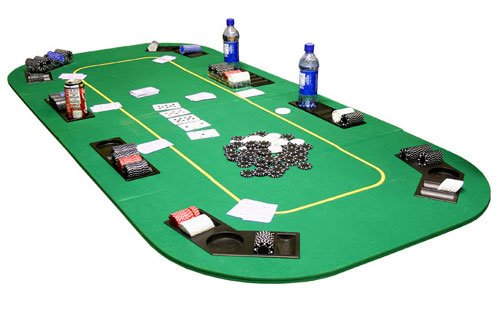Texas Hold'em Folding Table Top w Cup Holders in Green