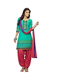 Jagadamba's cotton embroidered patiala dress material for women