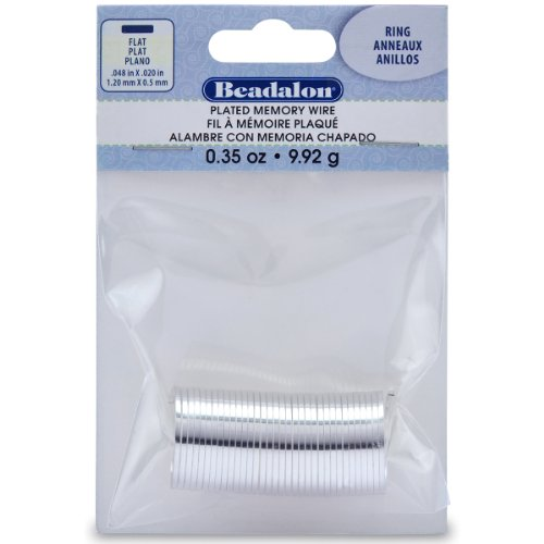 Beadalon Silver Plate Flat Ring Memory Wire for Beading, 0.35-Ounce