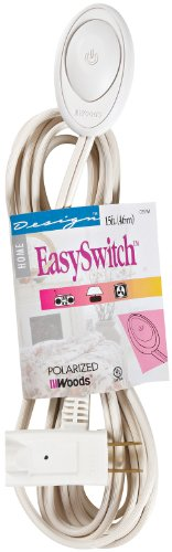 Woods 16/2 Extension Cord with Switch, Wired Remote On/Off, White, 15-Feet