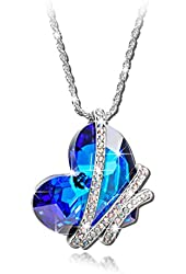 "Qianse ""Heart of the Ocean"" White Gold Plated Pendant Made with Blue Heart Shape Swarovski Elements Crystal"