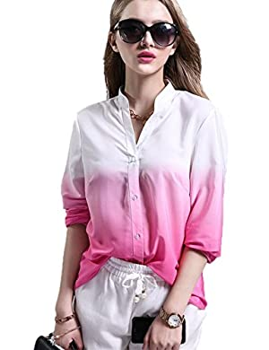VintageRose Women's Chiffon Ladies V-Neck Cuffed Sleeve Gradient Color Blouse Tops