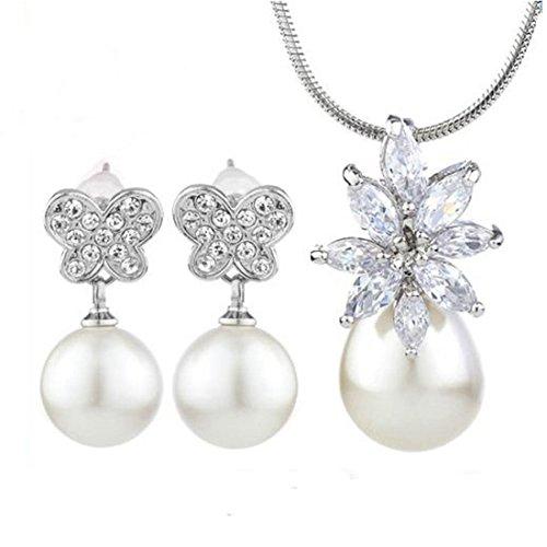 Neoglory-Conjunto-de-Joyas-Joyera-Mujer-Collar-Colgante-y-Pendientes-Brillantes-Circonitas-Perlas-Blancas-Flores-Mariposa-Pinchos-de-Plata-Joya-Original-Regalos-Navidad-para-Mujer