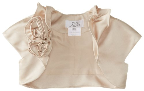 Us Angels Little Girls' Satin Bolero with Fabric Rosettes