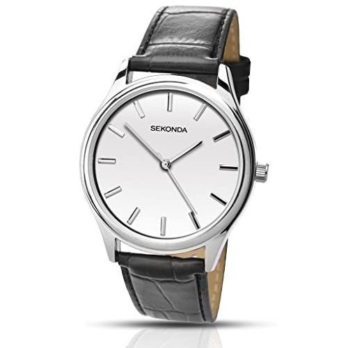Sekonda Men's Quartz Watch with White Dial Analogue Display and Black PU Strap 1121