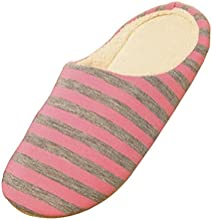 FUNOCreg Women Men Winter Stripes Soft Coral Velvet Anti-slip Slippers Indoor Home