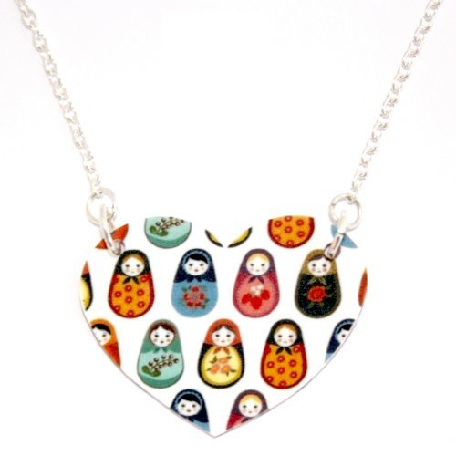 Sour Cherry Silver-plated-base Nested Russian Doll Heart Necklace (18 inch chain)