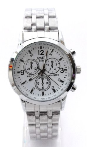 Mens White Chronograph Look Stainless Steel Sports Watch