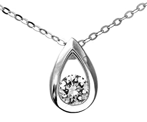 Finura 9ct White Gold Cubic Zirconia Teardrop Pendant and 46cm Chain