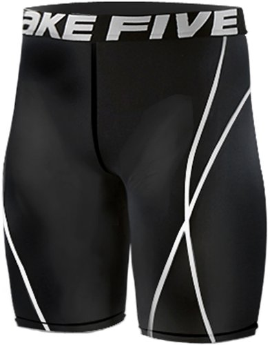 New 022, Calzamaglia da corsa, a compressione, strato Base, Leggings, pantaloni corti da uomo nero Medium