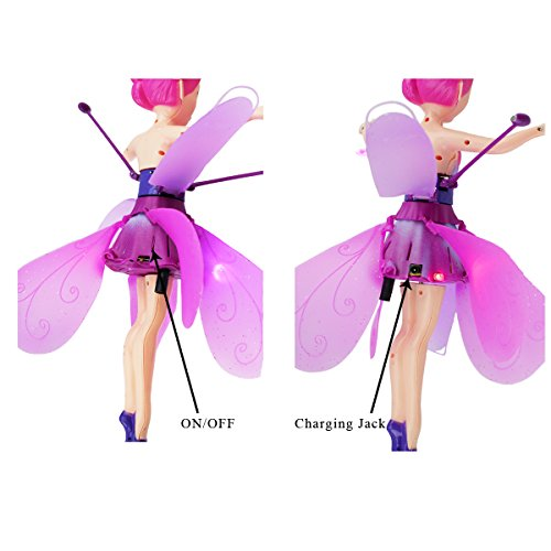 Beautiful Flying Fairy Doll Flutter Fly Flower Fairy Through the Air with music / Best Christmas gift New Year gift for Kids Children Girls (Dark Pink)