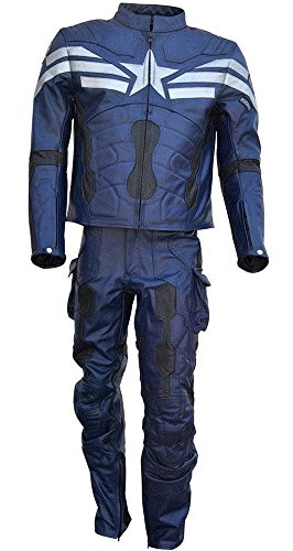 Sleekhides Men's Captain Real Leather Motorcycle Suit Cow Blue Medium