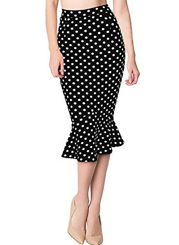 Missmay Women's Skirt Work Casual Ruffle Pencil Skater Calf Midi Dress XXL Black