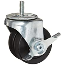E.R. Wagner Stem Caster, Swivel with Pinch Brake, Dual Wheel, Hard Rubber Wheel