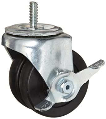 E.R. Wagner Stem Caster, Swivel with Pinch Brake, Dual Wheel, Hard Rubber Wheel
