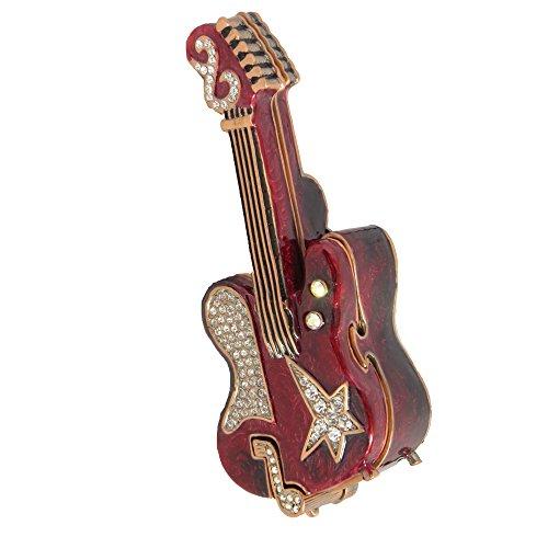 Burgundy Electric Guitar Figurine Box Enamel With Swarovski Elements Crystal Trinket Pill Jewelry Box