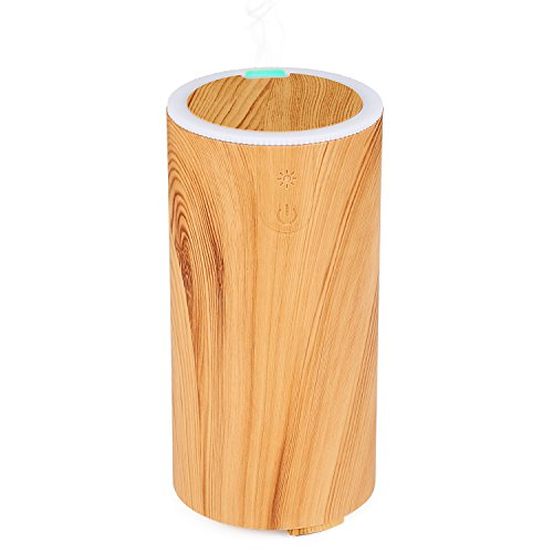 NexGadget USB Aromatherapy Essential Oil Diffuser - 50ml Car Portable Mini Ultrasonic Cool Mist Aroma Air Humidifier for Home,Office, Travel&More - Light Wood Grain