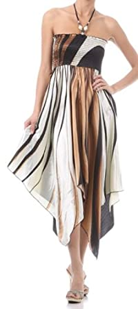 FOSatinSwirl12-5331 Swirl Design Satin Feel Beaded Halter Smocked Bodice Handkerchief Hem Dress - Brown / Small