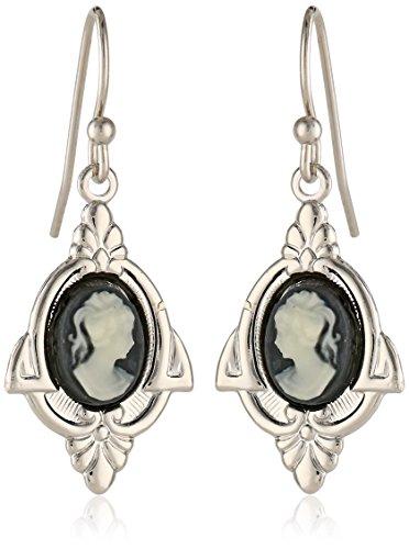 1928 Jewelry Embellish Vintage-Inspired Cameo Drop Earrings
