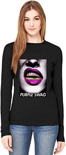 Purple Swag Golden Teeth Lips Gold Trill Stay Real T-Shirt da Donna a Maniche Lunghe Long-Sleeve T-shirt For Women  100% Premium Cotton  DTG Printing  XX-Large