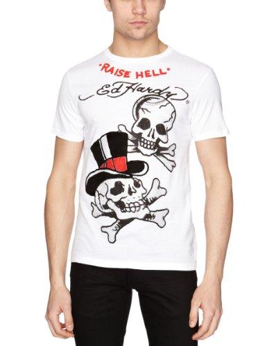 Ed Hardy Raise Hell Skull Plat Printed Men's T-Shirt White Large